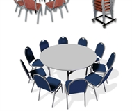Stand of a folding table - round board - 10 chairs