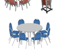 Stand of a folding table - round board - 8 chairs